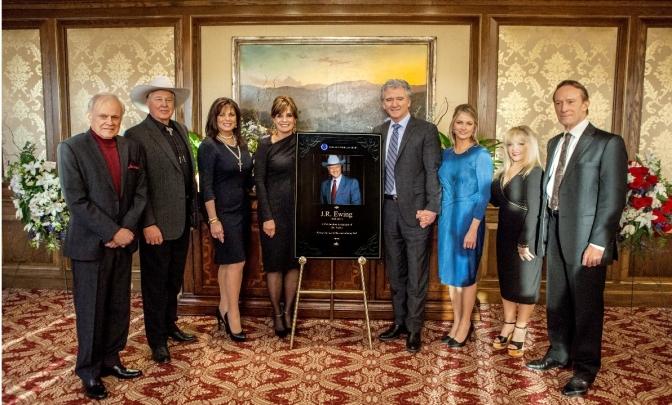 Ken Kerchevel, Steve Kanaly, Deborah Shelton, Linda Gray, Patrick Duffy, Cathy Podewell, Charlene Tilton and Ted Shackelford reunite to bid Larry Hagman farewell as J.R.